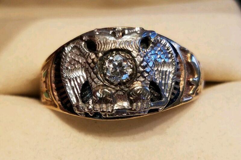Masoniac 10k Yellow Gold & Diamond Ring (size 14.5)