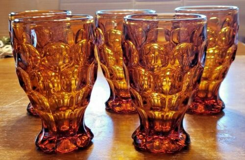 """VINTAGE SET OF 5 IMPERIAL GLASS AMBER PROVINCIAL ICE TEA TUMBLERS 5 3/4"""" TALL"""