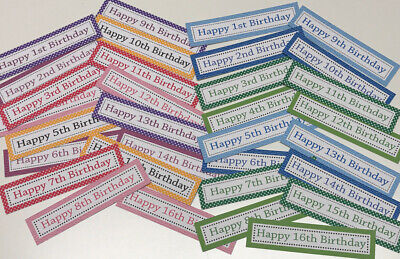 32 AGE BIRTHDAY SENTIMENTS/BANNERS 1st-16th PRINTED CARD TOPPERS (32mix)