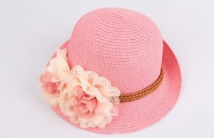 Sweet  Kids Children Boys Girls Toddler Flowers Sun Cap Straw Hat UK SELLER
