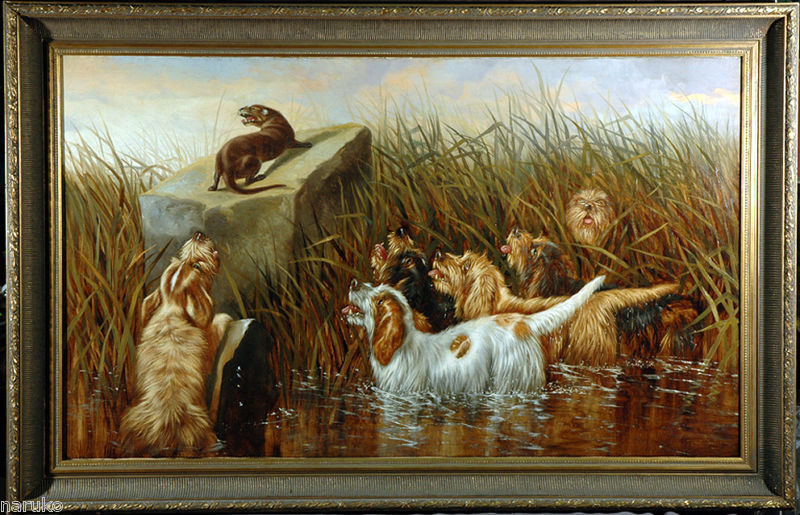 """C.1890 OTTERHOUND PAINTING 30""""x50"""" DOGS TRAPPING OTTER SIMILAR PAINT BROUGHT 11K"""
