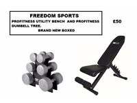 PROFITNESS BENCH WITH DUMBBELL TREE BRAND NEW BOXED BENCH