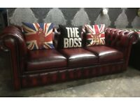 Immaculate Chesterfield Iconic 3 Seater Low Back Sofa in Oxblood Red Leather Couch - Uk Delivery