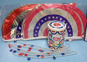 2-Patriotic-Plastic-Bunting-M-M-Candy-Tin-4-Beaded-Star-Necklace-Lot-of-7