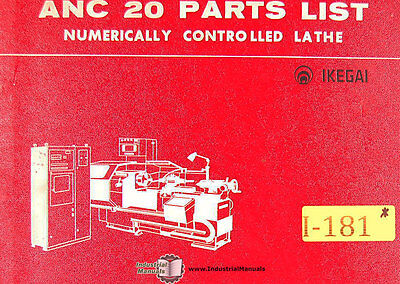 Ikegai Anc 20 Parts List Manual