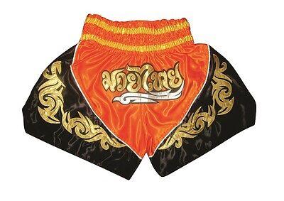 Muay Thai Shorts, Thai-Kickbox Hose,Muay Thai Pants NEU 100% Satin, orange Gr.M ()