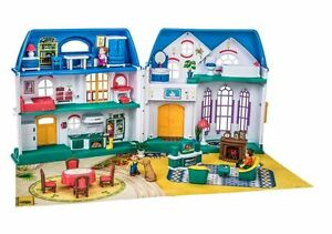 Dolls House Mansion Plastic Fold Away w/ Lights & Sounds, Furniture & Pets NEW