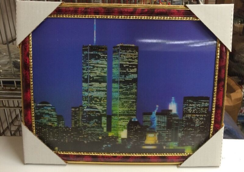 """World Trade Center Picture Framed 3D Twin Towers 13.5"""" X 10.5"""" New #1"""