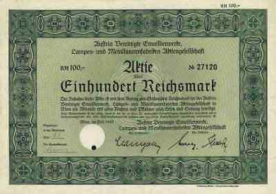 Austria Vereinigte Emaillierwerke EHT Lampen Metallwaren 1942 Wien  RARE 100 RM