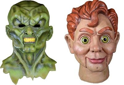 Goosebumps Halloween Mask (Halloween Goosebumps The Haunted & Slappy the Dummy Latex Masks YOU GET BOTH)