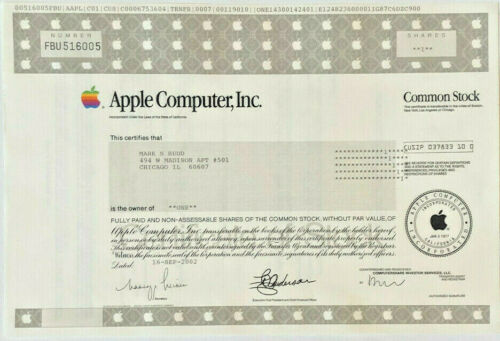 Apple Computer 2002 stock certificate