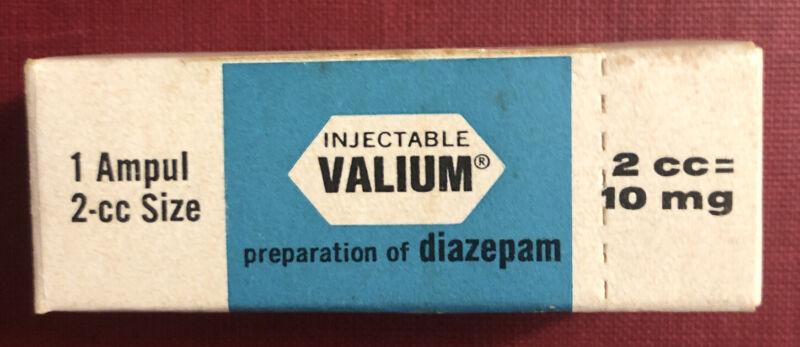 Valium Pharmacy Prescription Box Vintage 1 Ampul Miniature 1971 Collectible