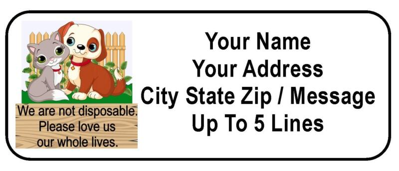 """30 Adopt / Kitten / Puppy """"We Are Not Disposable"""" Personalized Address Labels"""