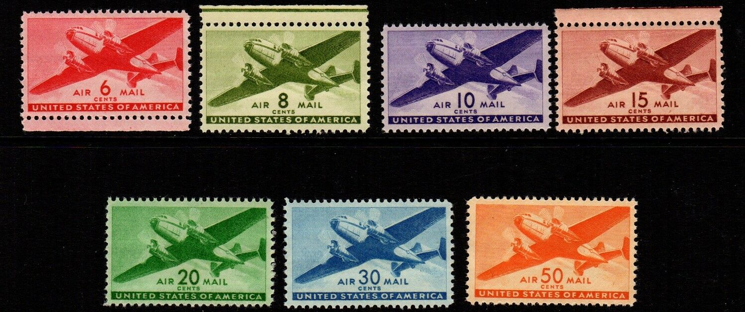 US Airmail Stamps: C25-C31 Mint, original gum,  Never Hinged (cv$18.90)
