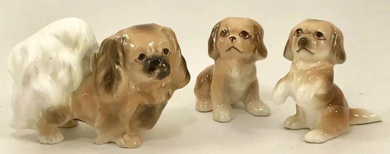 VIntage Miniature Pekingese Dog Figurines Family Mom Puppies Fine A Japan