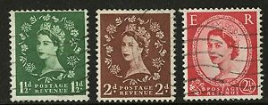 Great-Britain-1955-7-Scott-319c-320a-321b-USED