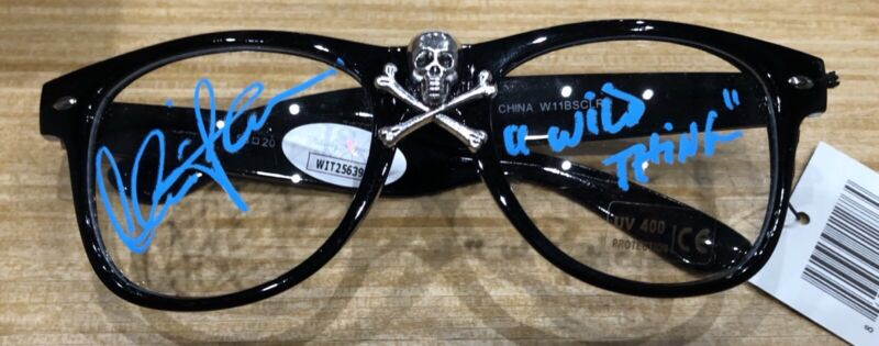 Charlie Sheen Signed JSA Major League Wild Thing Inscribed Crossbones Glasses
