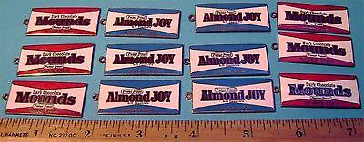 12 ALMOND JOY and MOUNDS Candy Bar Enamel on Metal Vintage Pendants (6 & 6)