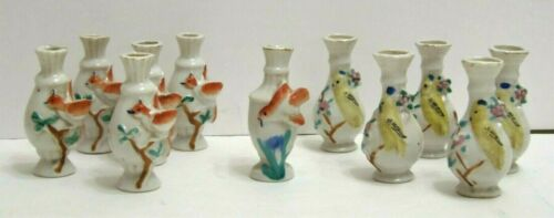 """Vintage Japan Miniature Vases 3-D Red & Yellow Birds On Branch 3"""" Tall Lot Of 11"""