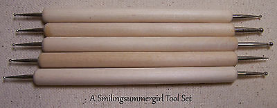 5pc Ball Stylus & Embossing Tool Set Use w/ Stencils, Clay, Paper & Metal Crafts