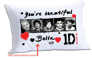 One Direction 1D You're Beautiful Personalised Name White Pillow Case