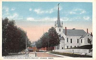 For sale Orange Massachusetts Universalist Church Street View Antique Postcard K27886