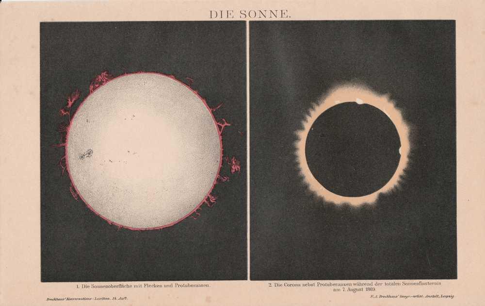 SONNE Sonnenflecken Protuberanzen Sonnenfinsternis 1869 CHROMOLITHOGRAPHIE 1898
