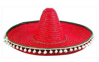 RED COLOR LARGE MEXICAN SOMBRERO STRAW HAT WITH TASSELS mexico headwear new - Red Sombrero