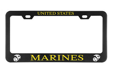 UNITED STATES MARINES CORPS Military License plate frame Black Metal Holders