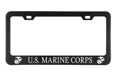 U.S. MARINE CORPS Combat Red Military License plate frame Black Metal Holders