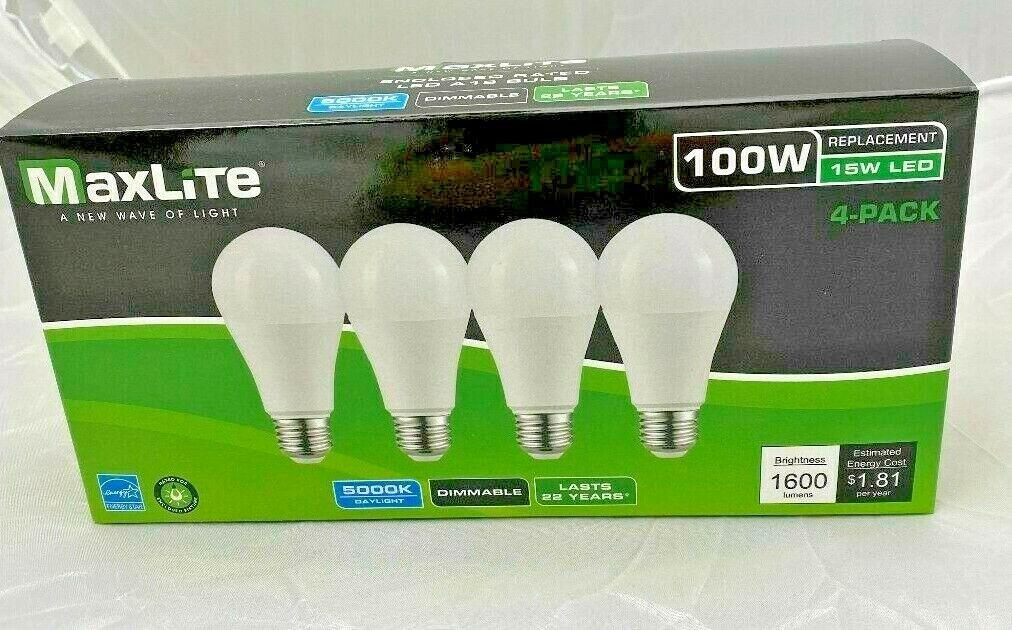 4 Bulbs LED 15W Daylight 5000K A19 100W Replacement by Maxli