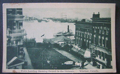 CANADA WINDSOR 1917 view  FERRY LANDING & stores - with DETROIT IN THE (The Landing Stores)