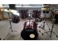 Drum Kit- VG Cond - Yamaha Stage Custom 5 piece , carry cases, spare heads, cymbals, seat and spares