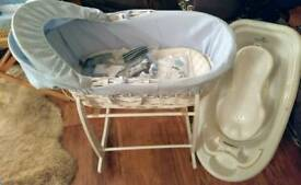 Blue Moses basket, new born baby boy items, white baby bath