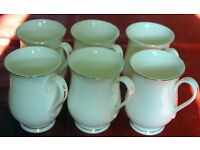 Set of 6 Fine Bone China White Gold Gilded Shaped Footed Mugs