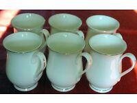 Set of 6 Fine Bone China White Gold Gilded Shaped Footed Mugs