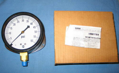 "US Gauge AMETEK 4-1/2"" Pressure Gauge 132617 5801 0-60 PSI 1/4 ANPT LM - NOS"