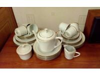 32 piece china tea/ dinner set - white with gold trim