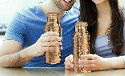 Copper Flask Travel Bottle Hammered Design Travelling Joint-Free bottle 900 ml