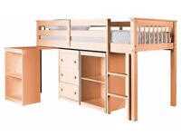 Quality Pine Mid Sleeper with Pull-out desk, Chest and Bookcase BRAND NEW