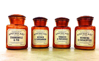 Paddywax APOTHECARY (Brown) 8oz Soy Wax ~ Glass Candle Jar ~ Assorted Scents Apothecary Glass Jar Wax Candle