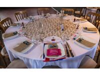 15 White circular table cloths 108 inch diameter and 13 Circular Cath Kidston Style Table cloths