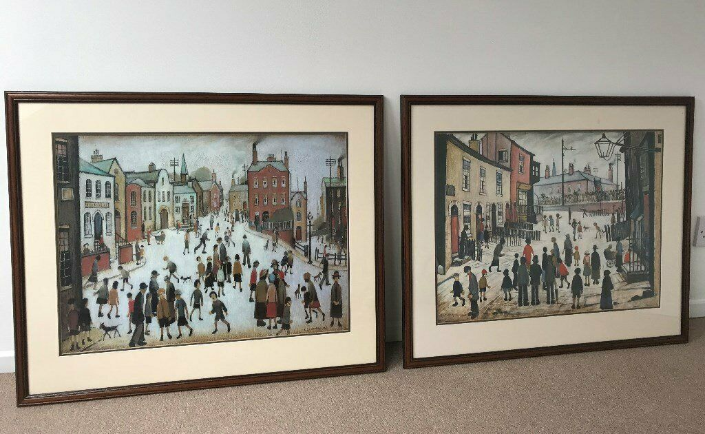 acbb22ad87e Two Large LS Lowry Professionally Framed Prints with Mounts - A Procession  and A Village Square