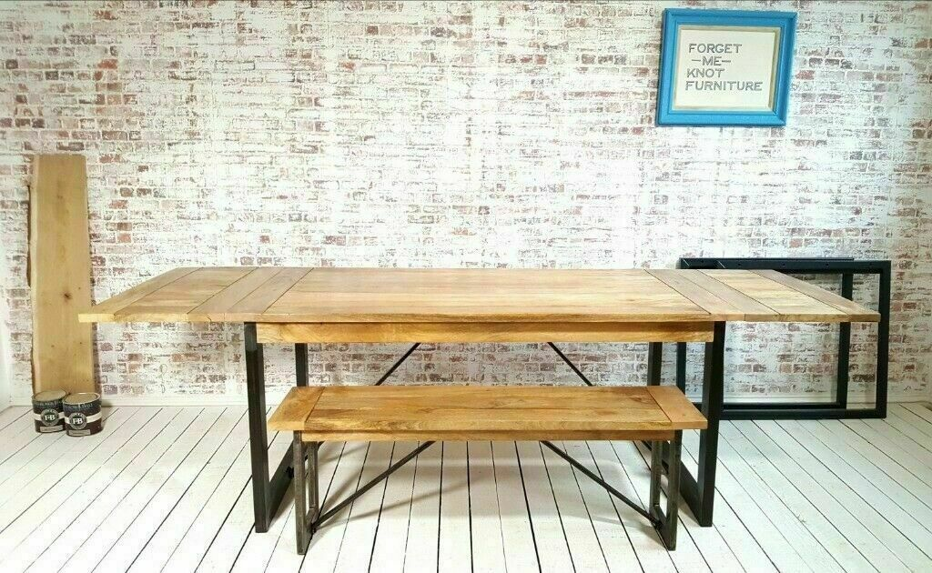Oak Style Extendable Rustic Hardwood Industrial Dining Table Seats Up To 12 With Without Benches In Wimbledon London Gumtree