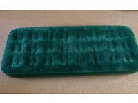 Green Single Inflatable Air Bed / Airbed Camping / Sleep Over