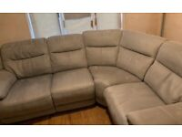 Corner Sofa, electric recline with footstool