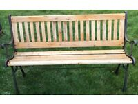 GARDEN BENCH RETRO CAST IRON END AND WOOD BACK &SLATED BASE EXCELLENT CONDITION SEE ALL PHOTOS