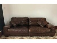 Lovely Brown Leather Sofa 4 seater