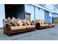 4+3+1 John Lewis chestnut leather/fabric sofas|couch|suite DELIVERY AVAILABLE