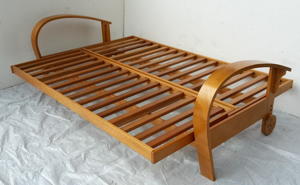Ex display 4ft6 double wooden futon sofa bed frame only for Divan double bed frame